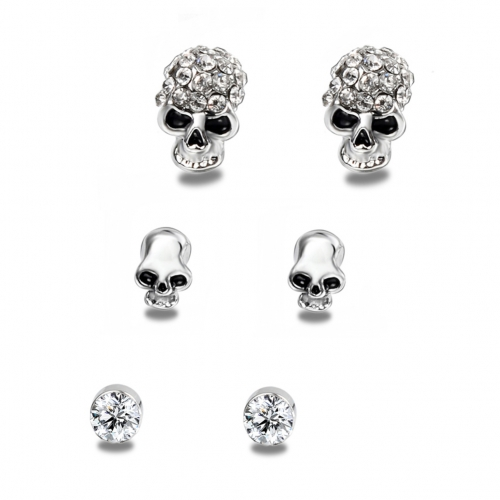 Fancy Products Hip Hop Boho Punk 3 Pairs / 1Set  Silver Plated Skull Earrings Stud Women Fashion Jewelry Accessories BPAN