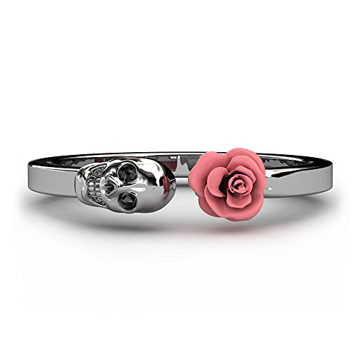 EVBEA Fashion Skull Womens Ring 316L Stainless Steel Punk Rock Rings Charm Female Inlaid Red Rose Rings