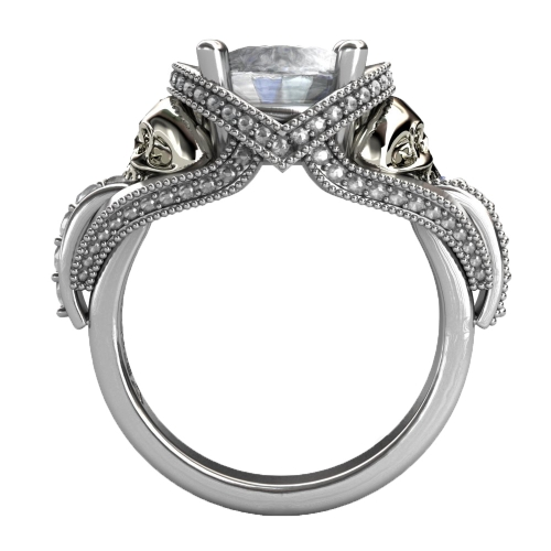 EVBEA Real Pure 100% 925 Sterling Silver Skull Solitaire Ring